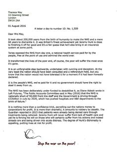 A letter a day to number 10. No 1,509  Monday 01 August 2016. Jeremy Hunt is putting lives at risk for profit.