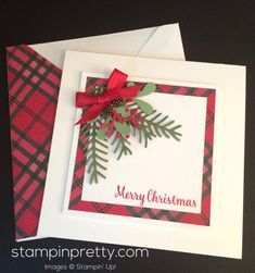 ORDER STAMPIN' UP! ON-LINE! Learn how to create this simple & pretty holiday card with the Pretty Pines Thinlits Dies.