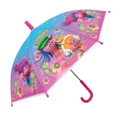 DREAMWORKS TROLLS UMBRELLA LICENSED KIDS CHILDRENS GIRLS PINK POE EMBOSSED HAPPY