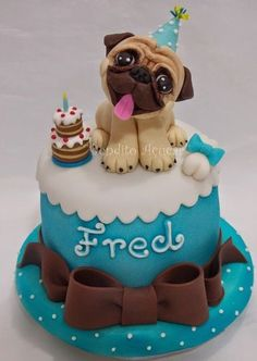 22 Best Of Dog Cake Decorating Ideas Pretty Cakes, Cute Cakes, Fondant Cakes, Cupcake Cakes, Pug Cupcakes, Fondant Baby, 3d Cakes, Fondant Figures, Puppy Birthday Cakes