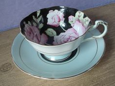 Antique Paragon hand painted pink roses tea cup by ShoponSherman