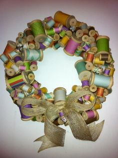Wooden Spool Wreath with Burlap Bow