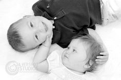 boy, girl, brother, sister, laying, black and white