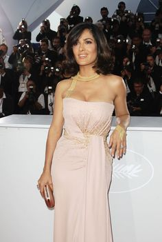 Salma Hayek Long Straight Cut with Bangs - Salma Hayek Hair - StyleBistro