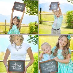 Pregnancy announcement for third child. baby announcement sign- Ben holding it Maternity Pictures, Baby Pictures, Baby Photos, Newborn Photos, Pregnancy Photos, Third Baby Announcements, Third Child Announcement, Pregnancy Announcement Photography, Baby Makes