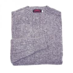 O'Connell's Scottish Shetland Wool Sweater - Cable Knit - Medium Grey