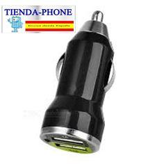 Cargador mechero coche USB 1A para movil tablet negro car charger 12-24v 1000mA