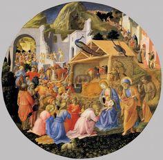 """FILIPPO LIPPI (Fra) e BEATO ANGELICO - Adorazione dei Magi detto """"Tondo Cook"""" - diam. cm. 137,2 - c. 1455 - National Gallery of Art, Washington - Iniziato da Beato Angelico, fu terminato da Filippo Lippi"""