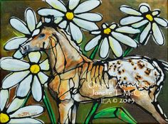 "Contemporary Artists of Oklahoma: Abstract Horse Art by Oklahoma Contemporary Equine Artist Jonelle T. McCoy ""Daisies on my Britches"""
