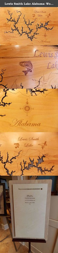 Lewis Smith Lake Alabama: Wood Map Standout Wall Hanging. Lewis Smith Lake wooden engraved map with interesting history carved into wood. Each map has been created using a laser engraving machine. After the map has been cut out with the laser, and points of interest have been engraved into the surface, the detailed map is then mounted over a tranquil blue, standout background and is ready to hang. A very nice contemporary look not requiring a frame. Each piece is a one of a kind…