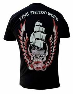 Fine Tattoo Work Shirt Cotton Shirt - Black - Back Image & DMA logo on upper front Made in the USA - By: Black Market Art Company - Artist: Adi Saints Shirts, Work Shirts, Print Artist, Back To Black, Graphic Sweatshirt, T Shirt, Tattoos For Guys, Sweatshirts, Tees
