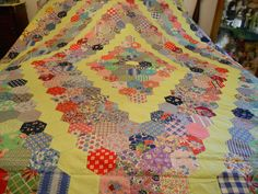"""ANTIQUE QUILT TOP LOVELY APPROX. 66 1/2"""" WIDE & APPROX. 98"""" LONG"""