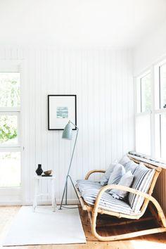 my scandinavian home: The idyllic Danish summer cottage Living Room Inspiration, Interior Inspiration, White Wood Paneling, Home Interior, Interior Design, Interior Styling, Beach Cottage Style, Coastal Style, Beach House