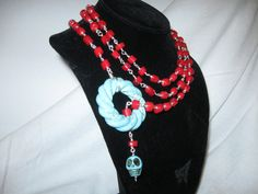 48 coral and silver chain with turquoise skull and by charleydarbo, $159.00
