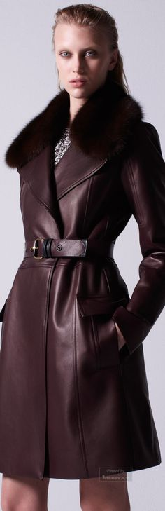 Mendel Pre-Fall 2015 Trunkshow Look 29 on Moda Operandi Cool Coats, Vogue, Fashion Show, Fashion Design, Leather Fashion, Brown Fashion, Fall 2015, Coats For Women, Mantel