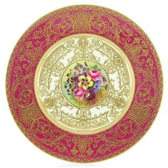 20th C.  12 Royal Worcester Porcelain Floral Service Plates, England  Set of 12 entirely Hand Painted Royal Worcester Service Plates. Each plate, an elaborate work of art in its own rite, featuring different floral scenes in the center framed by a warm cream border with heavily raised rich intricate gold designs & a large rich deep red outer border with repeating raised gold design. Each is signed by Royal Worcester famed artist: J FREEMAN.
