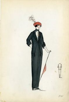 """Day dress, 1912. Black dress and jacket with white shirtwaist under jacket; black necktie, long white gloves, red parasol, and red hat with red plume included; red flower pinned to lapel of jacket; tassel embellisment at hip. (Bendel Collection, HB 002-47)"", 1912. Fashion sketch. Brooklyn Museum, Fashion sketches. (Photo: Brooklyn Museum, SC01.1_Bendel_Collection_HB_002-47_1912_SL5.jpg)"