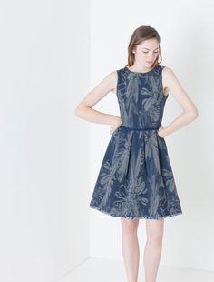 Corolla Dress di jersey jacquard, blu -