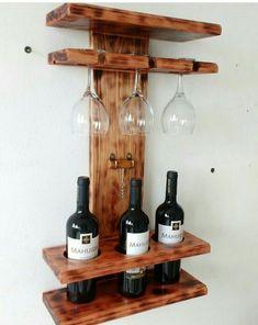 Bath Towel Storage, Garden Bar Shed, Wine Rack Design, Easy Wood Projects, Glass Bottles, Woodworking Projects, Wood Wine Racks, Pallet Wine Racks, Wall Hanging Wine Rack