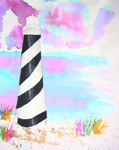 Primary Art: Fifth grade lighthouses