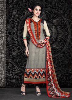 Ethnic NX Grey Faux Crepe Churidar Designer Suit | Whats Up No. +918238311448  | http://www.ethnicnx.com/salwar-kameez/grey-faux-crepe-churidar-designer-suit-7518