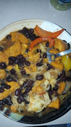 Black bean with spinach and peppers