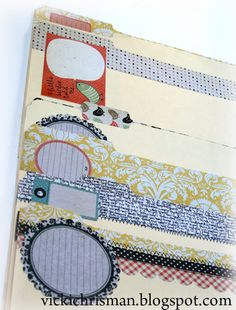 decorate file folders with scrapbook paper and embellishments -- Love it.