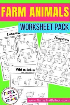 Farm animals worksheets for preschool and kindergarten. Free farm theme printable for preschoolers. #planesandballoons