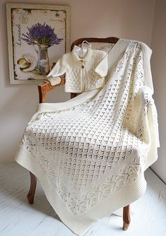 Lace and Diamond Heirloom Blanket and matching Jacket - P098 Knitting pattern by OGE Knitwear Designs