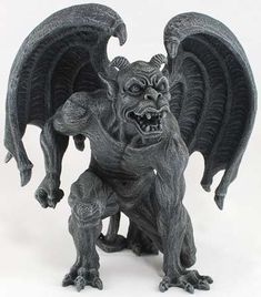 "A fierce gargoyle unfurls his wings, one fist drawn back and every   muscle tensed as he prepares to strike. Made out of cold-cast resin,   this 6 1/8"" tall x 6"" wide statue is a dark charcoal in color,   highlighting the intense level of detail used on every inch of this   beautiful piece.   $23.95"