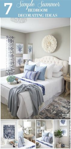 Lighten and brighten your bedroom for summer with these 7 simple summer bedroom decorating ideas! Read my design tips on selecting summery color palettes, bedding, fabric patterns and art! #decor #decoratingideas #decorating #summer #bedroom