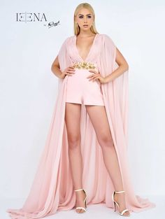 Find inspiration and ideas for your next pageant appearance or fun fashion outfit at ThePageantPlanet.com. Pictured here: Ieena For Mac Duggal 8847 ROMPERS V-Neck Natural Polyester high-low Pink | Pageant Planet