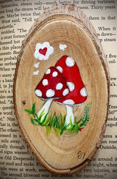 Mushroom Painting - Love Painting - Red Mushroom - Painting on Wood - - folk… Wood Slice Crafts, Wood Burning Crafts, Rock Crafts, Diy And Crafts, Arts And Crafts, Love Painting, Painting On Wood, Mushroom Paint, Pallet Art