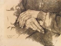 Wilhelm Leibl, his mother's hands, ink