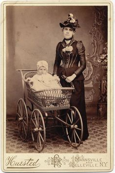 Victorian Wicker Baby Carriage, Mother in Fashionable Dress, Baby in Bonnet, Antique Photo (via Anemone Antiques at RubyLane.com)