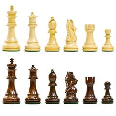 The stately bridled Knight is the eye-catching focus of this set. The beautiful chess pieces are made up of Rosewood (dark) and Boxwood (light). The level of detail on these knights is equal to that o