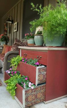 How to turn an old dresser into a beautiful planter.