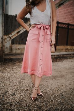pink midi skirt with pockets and bow waist