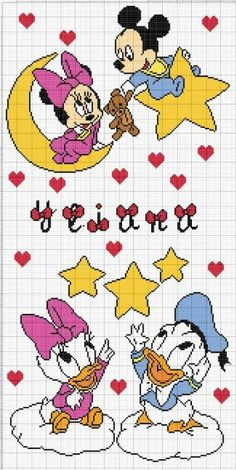 Discover thousands of images about Mickey Mini Y Mickey, Mickey E Minnie Mouse, Free Cross Stitch Charts, Cross Stitch Baby, Bead Crochet Patterns, Crochet Chart, Disney Stich, Disney Quilt, Modele Pixel Art