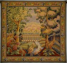 Oiseau sur le pont, a Belgian tapestry depicting an arched bridge over a woodland stream. From The Tapestry House landscape tapestries collection. Tapestry Fabric, Art Corner, Landscape Walls, Landscape Design, Tapestry Wall Hanging, Wall Hangings, Beautiful Landscapes, Autumn Leaves, Renaissance