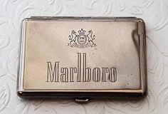 Marlboro cigarette case, cigarette tin, vintage tobacciana. PM Inc. insignia, Veni-Vidi-Vici, Philip Morris USA. 1976. by NanaBarbarastreasure on Etsy