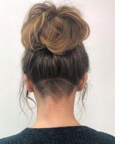 Undercut Curly Hair, Undercut Hair Designs, Shaved Undercut, Shaved Nape, Undercut Hairstyles, Down Hairstyles, Girl Undercut, Bob With Undercut, Updo Hairstyle