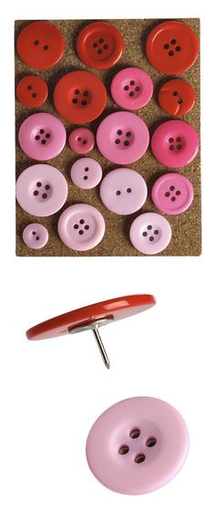 Button Pushpins Pink by Kikkerland // Awesome DIY idea!! Or... if you can't be bothered, you can buy them too... :) #productdesign