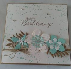 Well I am safe to share this now as the recipient has received it on time! And for me, that was a great achievement as I had to send it to . Homemade Birthday Cards, Happy Birthday Cards, Homemade Cards, Stampin Up Anleitung, Botanical Flowers, Botanical Gardens, Flower Patch, Stamping Up Cards, Mothers Day Cards