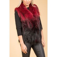 Jayley Red Tie-Dye Fur Gilet found on Polyvore featuring women's fashion, outerwear, vests, fur waistcoat, fur vest, red waistcoat, red fur vest and tie dye vest