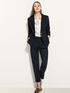 Temperate Custom Made Navy Blue Jacket Khaki Pants Women Business Suits Formal Office Suits Work Blazer Female Trouser Elegant Pant Suits High Quality Suits & Sets