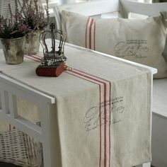Runner and pillows with antique grain sacks