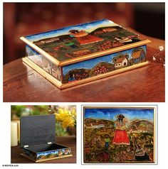 Painted glass jewelry box, 'The Mother and the Child' - Hand Made Peruvian Reverse Painted Glass Jewelry Box (image 2)