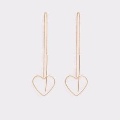 Faenia Show some heart with the Faenia delicate earrings with hanging delicate heart shapes. No one will mistake you for not being a romantic any time you add these to your look.