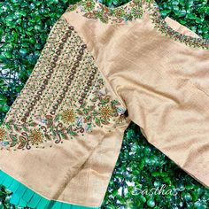 Delight ✨✨ For bridal work appointments contact 9894580666 ! Pattu Saree Blouse Designs, Fancy Blouse Designs, Bridal Blouse Designs, Blouse Neck Designs, Sleeve Designs, Blouse Patterns, South Indian Blouse Designs, Maggam Work Designs, Kurta Designs Women